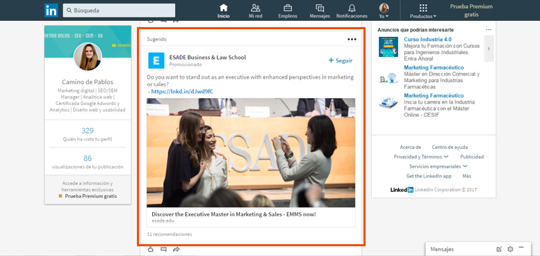 campaña de marketing en LinkedIn